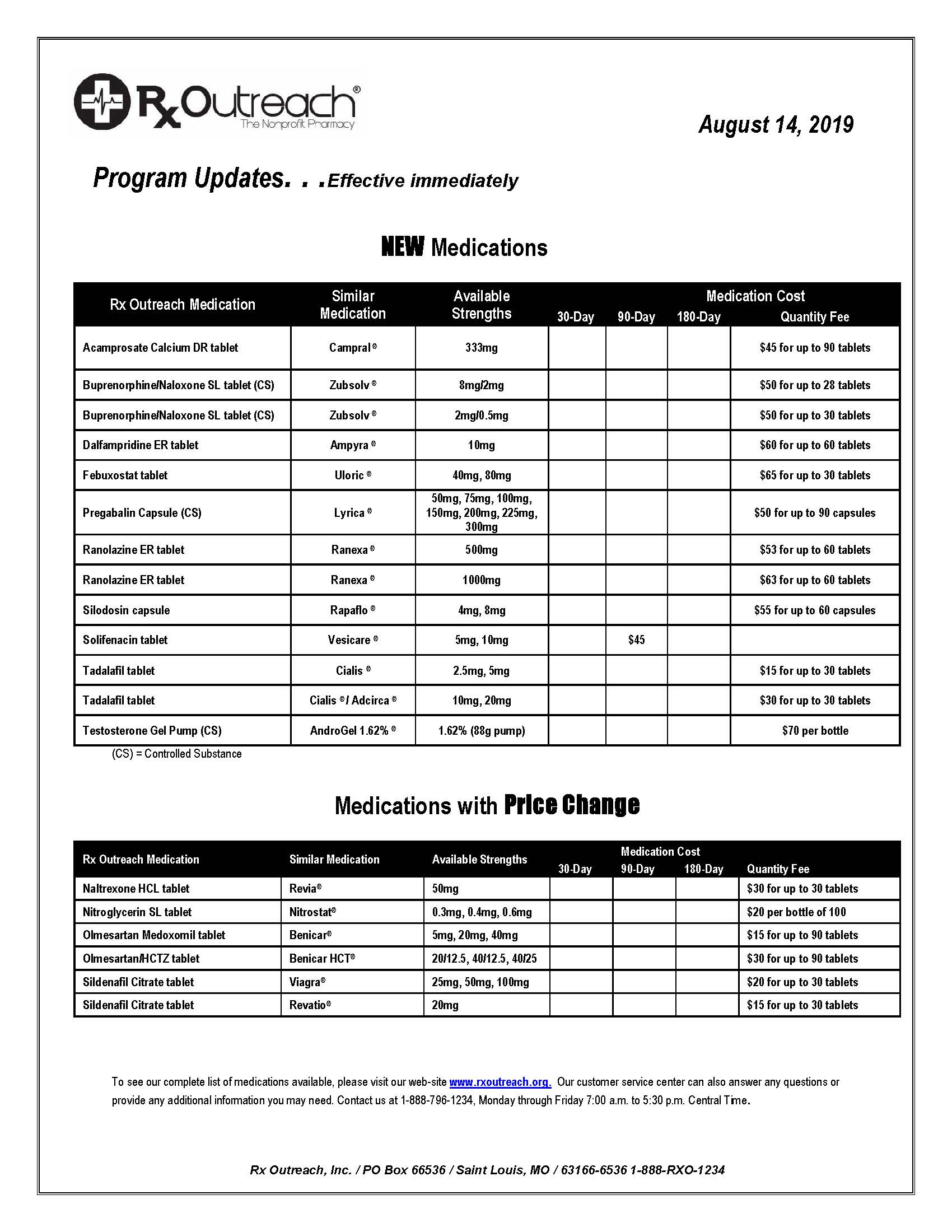 Drug Program Update Aug 19.