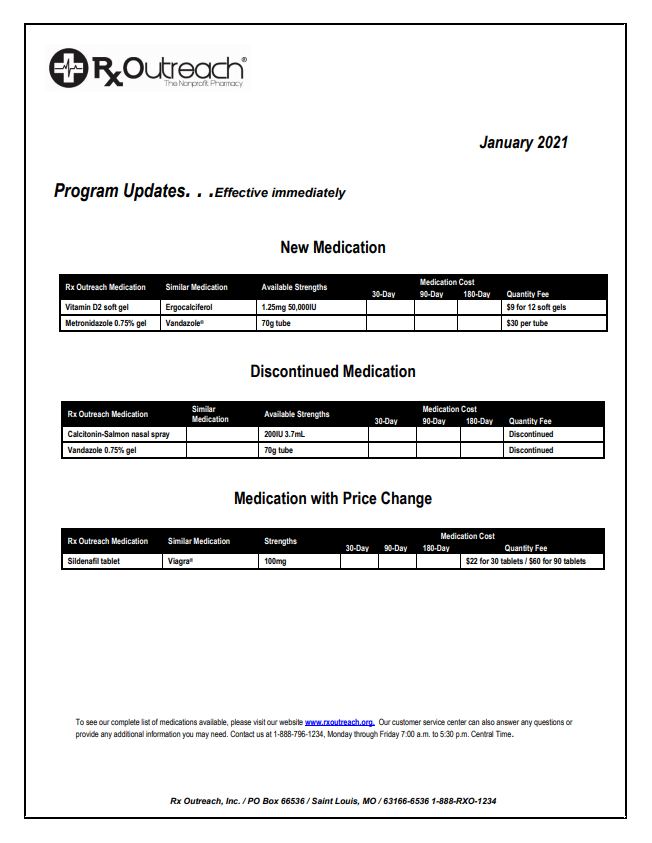Drug Program Update 01.21